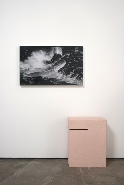 Erik Frydenborg, Reception, 2010. Framed Lightjet print, found pedestal. 73 x 53 x 12 inches.