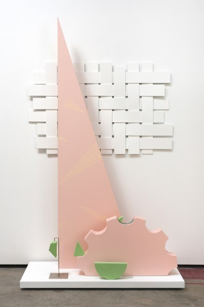 Erik Frydenborg, Botanas, 2010. Pigmented polyurethane, brushed chrome display stand, sanded rubber, MDF, bendy board, latex paint. 88 x 51 x 24 inches.