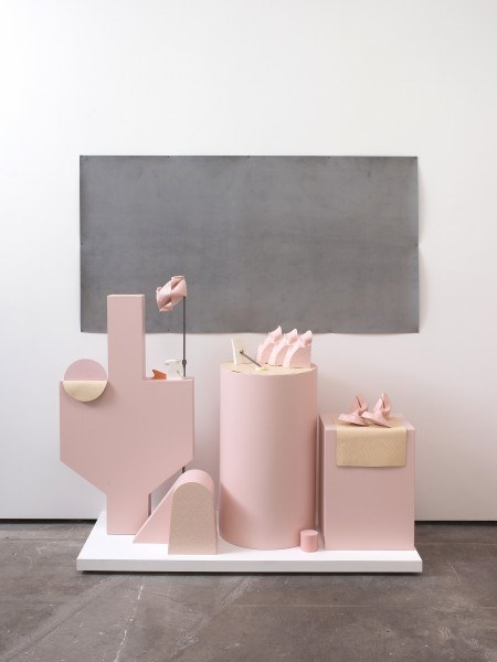 Erik Frydenborg, Warm Ride, 2010. Pigmented polyurethane, latex rubber, sanded rubber, steel dowel, 			steel display stand, MDF, bendy board, latex paint, nails. 76 x 72 x 26 inches.