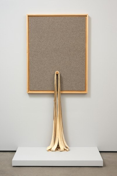 Erik Frydenborg, Codec 11 (Interpreted as Opus 4/Concentrics), 2011. MDF, paint, latex rubber, pine artist's frame, wool knit. 82.5 x 48 x 24 inches.