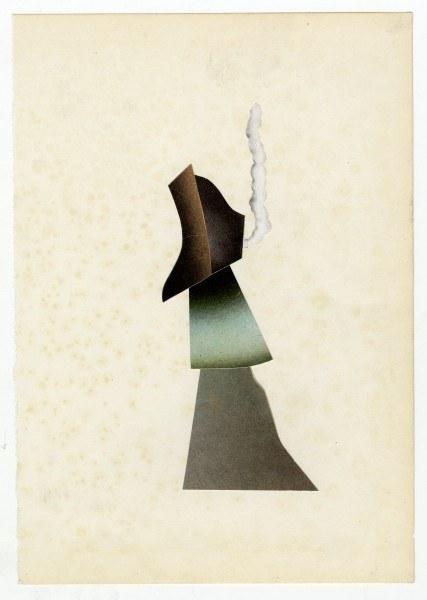Erik Frydenborg, Full Color Bachelor No. 208, 2013. Collage on endpaper. 7.5 x 5.25 inches.
