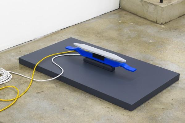 Erik Frydenborg, C-Wasp, 2017. Polychromed wood, shock cord. 5.5 x 27 x 2 inches.