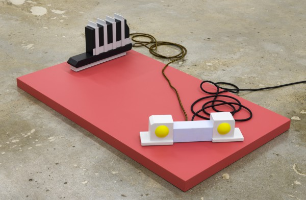 Erik Frydenborg, Battery Acid Junior, Hardboiler, 2017. Polychromed wood, shock cord. Dimensions variable.