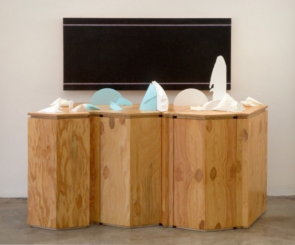 Erik Frydenborg, Selected Region, 2009. Selected Region, 2009. Pigmented polyurethane (plastic and foam), latex rubber, 	hardware, replicated plywood pedestals, unique Lightjet print on fabricated panel. 60 x 72 	x 30 inches.