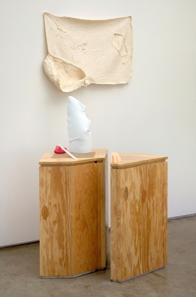 Erik Frydenborg, Sotto Voce, 2009. Pigmented polyurethane (plastic and foam), latex rubber, burlap, replicated plywood pedestals.72 x 40 x 32 inches.