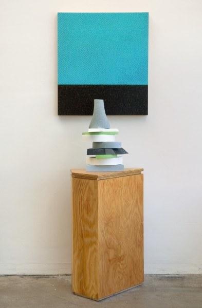 Erik Frydenborg, Condenser, 2009. Pigmented polyurethane, replicated plywood pedestal, unique Lightjet print on fabricated panel.75 x 24 x 22 inches.