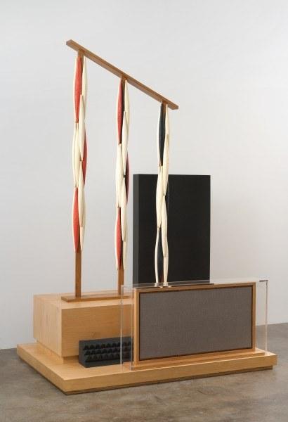 Erik Frydenborg, Sarabet (Anamorphic), 2012. Pigmented polyurethane, ash plywood pedestal and plinth, pine, packing foam, acrylic vitrine, MDF, linen. 90 x 60 x 40 inches.