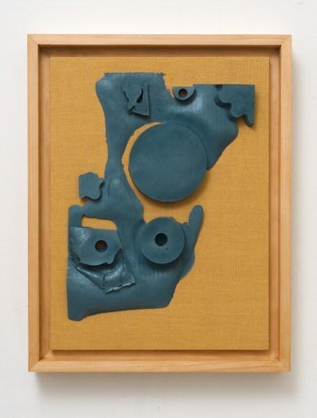 Erik Frydenborg, Sems (GM 2/Spider Face), 2013. Pigmented polyurethane, pine artist's frame, linen. 23 x 18 x 4 inches.