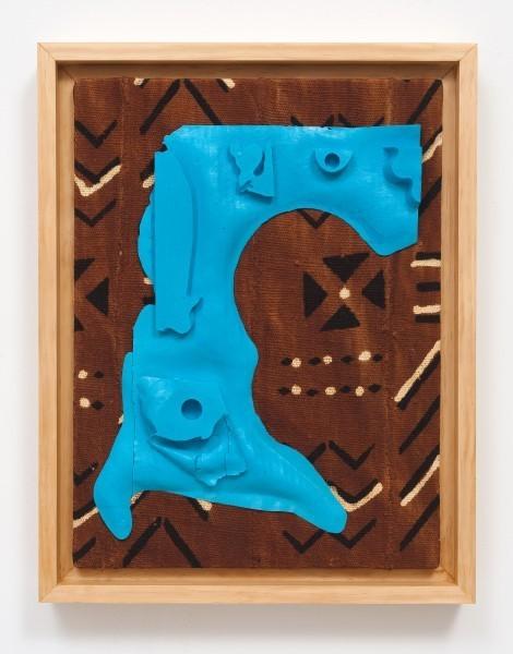 Erik Frydenborg, Sems (TB 1/Shaka), 2013. Pigmented polyurethane, pine artist's frame, Bogolan. 23 x 18 x 4 inches.
